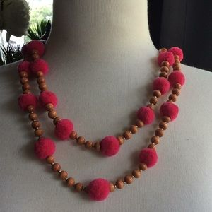 Wood look beaded necklace